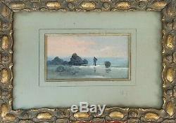 The Worm The Sun On The Beach. Oil On Ytabla. Signed H. Sanz. Xix-xx Century