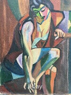 Very Beautiful Painting Portrait Cubist Woman Oil On Panel Hsp Dlg André Lhote