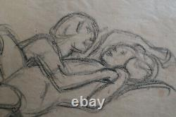 Victor Prouvé- Original Drawing Therese And René His Two Children -1920- Nancy