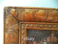 Vintage Painting Miniature/basque Country/painting On Wooden Panel/gold Frame