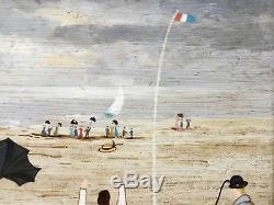 Vintage Painting On Marine Wood Characters On J. Duboist Throw 27cmx19cm