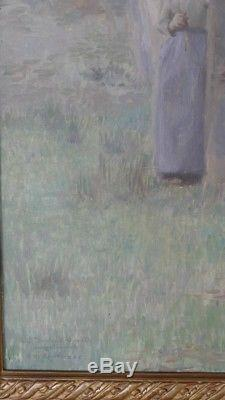 Woman In A Sous Bois, Oil On Canvas Signed A De Richemont, XIX