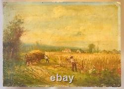 Wood Oil Painting Signed Peasant Countryside Landscape Fields To Clean