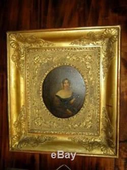 XIX Oil On Copper Portrait Lady Frame Empire Wood Dore