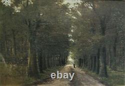 2914 huile sur bois chemin sous bois 59 cm x 39 cm barbizon école belge signé