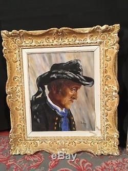 2 TABLEAUX PERSONNAGE EN COSTUME BRETON peinture bretonne signée LAUR portraits