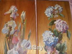 2 peintures Huile sur bois art nouveau vers 1900 Décor floral Iris & Hortensia