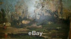 4 huile sur bois très anciennes paysages