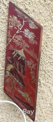 5 Anciens Panneaux Décoratifs Asiatiques. Laque & Dorure. Chine- Japon- Vietnam