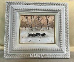 5 Tableau peinture à l'huile sur bois Sanglier en hivers Cadre bois