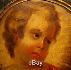 AA 18ème Remarquable peinture sur bois médaillon 58cm enfant Jésus Christ Dieu