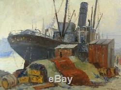 ALFRED QUERTANT (XIX-XXème) BEAU PAYSAGE Ca. 1930 MARSEILLE, QUAI DES BELGES