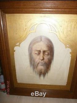ANCIENNE HUILE SUR bois/VISAGE DU JESUS/HOLY FACE OUR SAVIOR/SAINT FACE/46x56 cm