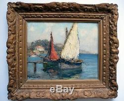 ANDRE BERONNEAU (1886-1973) HSP Port de CARQUERIANNE Impressionist Oil Painting
