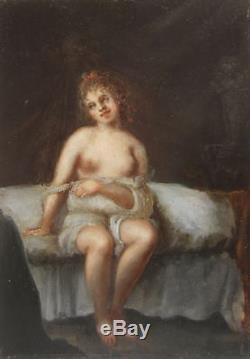 ATTRIBUE JACQUES ANTOINE VALLIN TABLEAU XVIIIème SIECLE NU FEMME NUE EROTIQUE