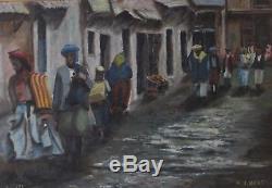 A. J. BERT SUBLIME ANCIENNE PEINTURE ORIENTALISTE Huile Sur Panneau Maghrebin