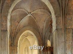 Adrianus Nieuwenhuyzen, tableau, église, intérieur, paysage, hollande, Pays-Bas