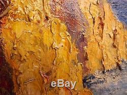 Agay roches rouge bord de mer Esterel. Huile/bois signé. Tableau 72x61 cm
