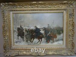 Albert BLIGNY-GUERRE DE 1870-paire d'huiles sur panneaux d'acajou-militaria