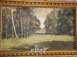 Albert REGAGNON 1922 Huile sur toile Vue de sous bois Tableau + Cadre doré
