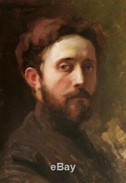 Alex de ANDREIS tableau portrait jeune homme barbu autoportrait peintre huile