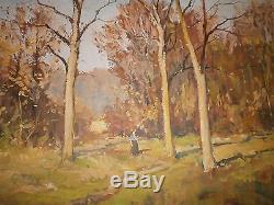 Alfred BOUCHER (1850-1934) Tableau huile sur panneau Paysage Forêt, Bois