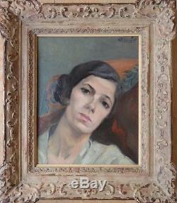 Alfred LOP (1898-1971). Portrait de femme. Beau tableau. Montparnasse. Saint-Cyr