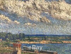 Alphonse Roubichou Peinture Hst 1920 Impressionnisme Bateau Lavoir Bord De Seine
