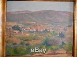 Ancien Grand Tableau Peinture Signée F Nas Village Provence Campagne Montagne