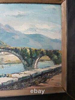 Ancien Panneau Huile Sur Bois Peinture Basque Signé JIVA Vers 1950 old painting