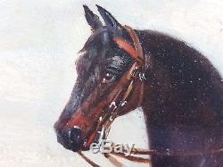 Ancien Tableau Cavalier Chassant à Courre Peinture Huile Antique Oil Painting