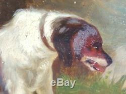 Ancien Tableau Chiens de Chasse et Gibier Peinture Huile Antique Oil Painting