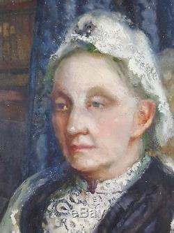 Ancien Tableau Dame à l'Eventail Peinture Huile Antique Oil Painting