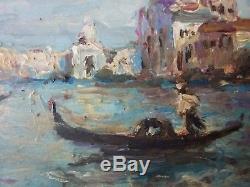 Ancien Tableau Grand Canal à Venise Peinture Huile Antique Oil Painting