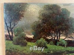 Ancien Tableau Huile Sur Panneau Paysage Campagne, Clair obscur, Signature WZ