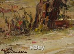 Ancien Tableau Huile Toile Andre Beronneau (1886-1973) Route Près de St Tropez