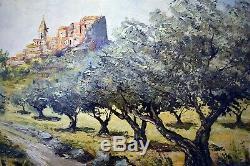 Ancien Tableau / Huile sur Bois signé, village provençal (Montfort Provence)