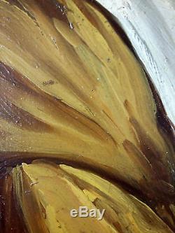 Ancien Tableau Jeune Femme En Buste Peinture Huile Antique Oil Painting