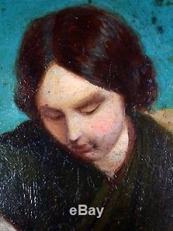 Ancien Tableau Jeune Fille à la Fontaine Peinture Huile Antique Oil Painting