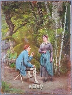Ancien Tableau Paul Leyendecker (1842) Peinture Huile Antique Oil Painting Old