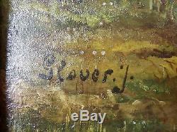 Ancien Tableau Paysage Animé Peinture Huile Antique Oil Painting