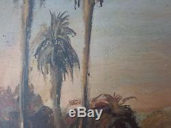Ancien Tableau Paysage Oriental Peinture Huile Antique Oil Painting