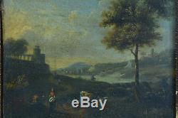 Ancien Tableau Paysage animé bord de Fleuve Vue d'Italie 18ème Marseille hsp