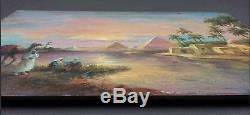 Ancien Tableau Paysage d'Egypte au Crépuscule Peinture Huile Oil Painting