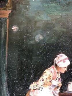 Ancien Tableau Peinture HSP Intérieur XIXe Painting Dipinto 19th