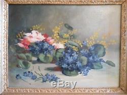 Ancien Tableau Peinture Huile Nature Morte Fleurs Cadre Bois Doré Style Louis XV