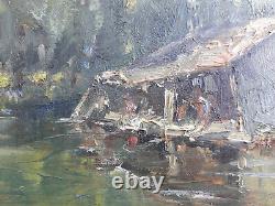 Ancien Tableau Peinture Huile Sur Bois Signe Rene Schmid Indre Chateauroux