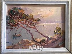 Ancien Tableau Peinture Signée Elie Bernadac Bord Mer Nice Cote D' Azur Encadrée