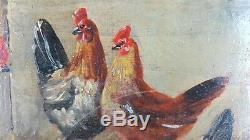 Ancien Tableau Poules et Coq Peinture Huile Antique Painting Dipinto Ölgemälde