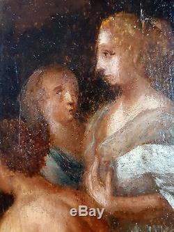 Ancien Tableau Scène à l'Antique Peinture Huile Antique Oil Painting